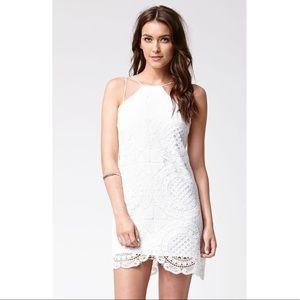 STYLESTALKER Hong Kong White Lace Shift Mini Dress